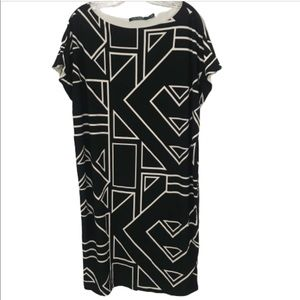 RALPH LAUREN 1X GEOMETRIC BLACK AND WHITE DRESS